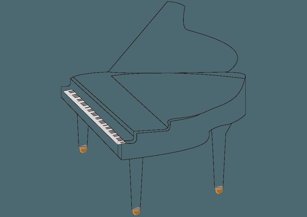 ピアノ線画のイラスト