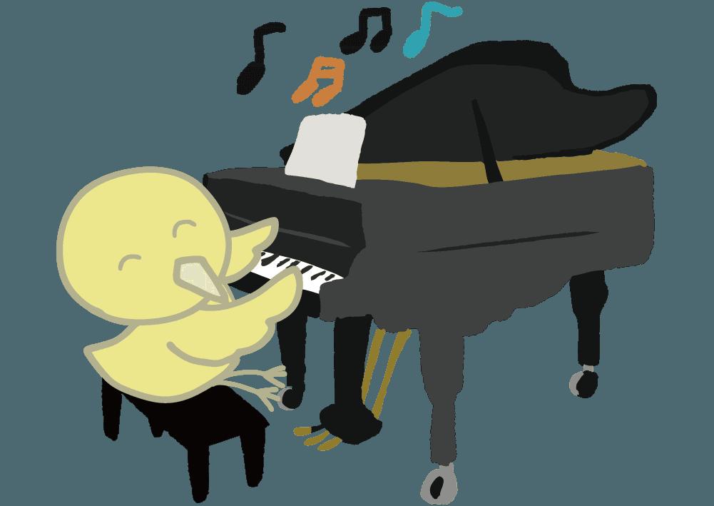 可愛いひよこの演奏会とピアノのイラスト