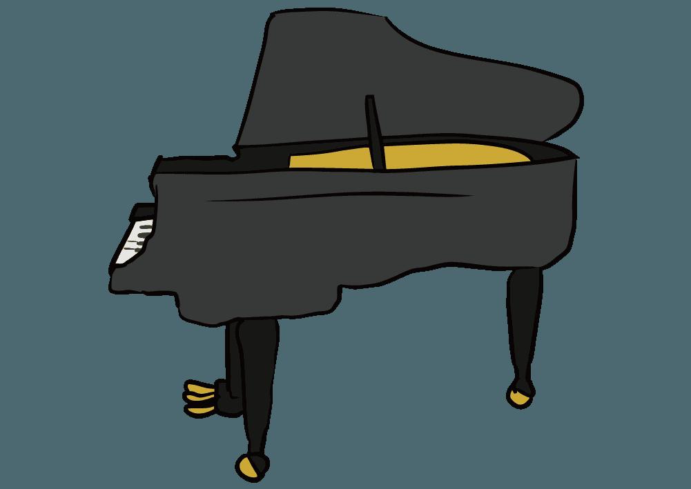ラフなタッチのピアノ(横)のイラスト