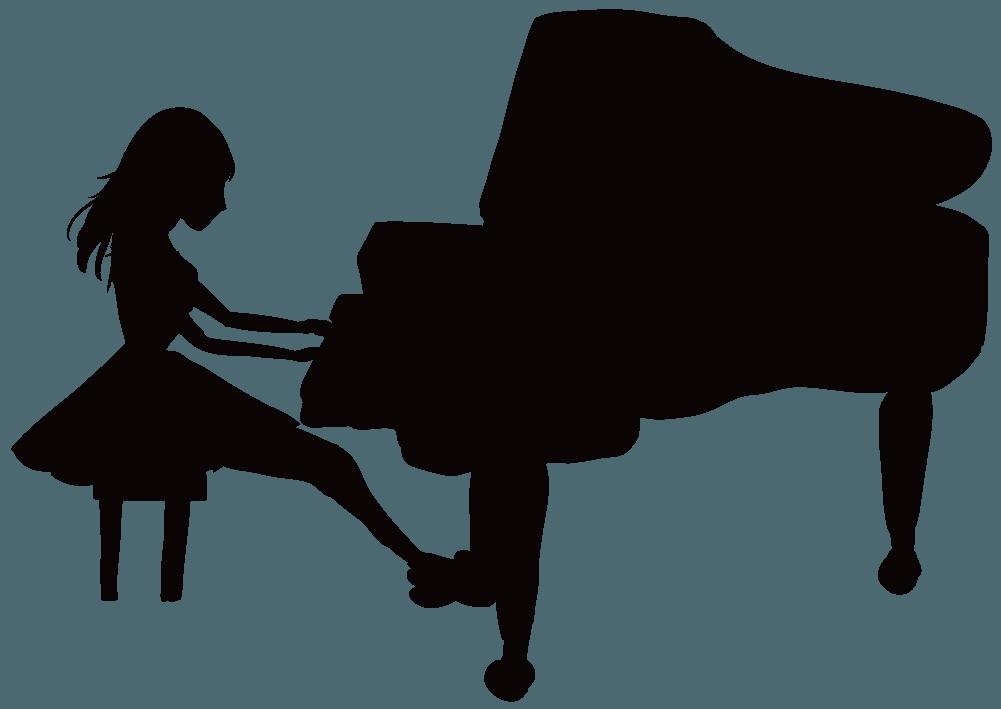 ピアノと演奏する女性のシルエットのイラスト
