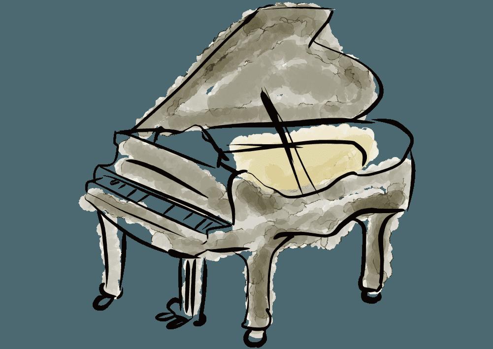 水彩タッチのクラシックなピアノのイラスト