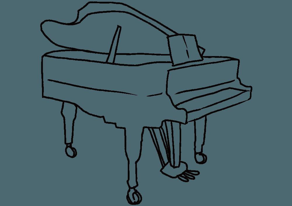 ボールペンで描いたピアノのイラスト