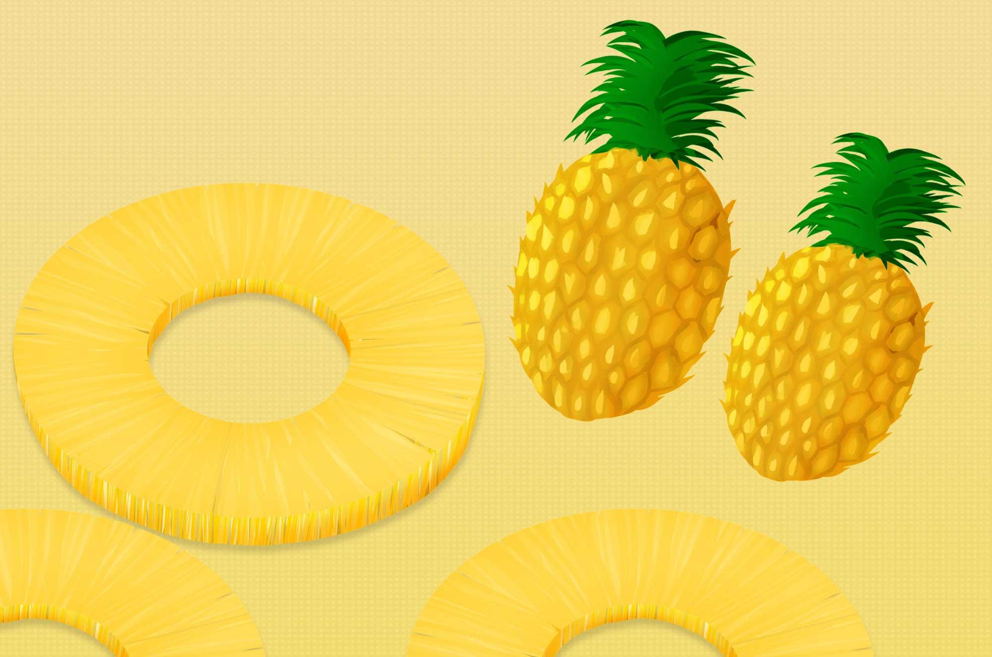 パイナップルイラスト - 可愛いリアルなパインの無料素材