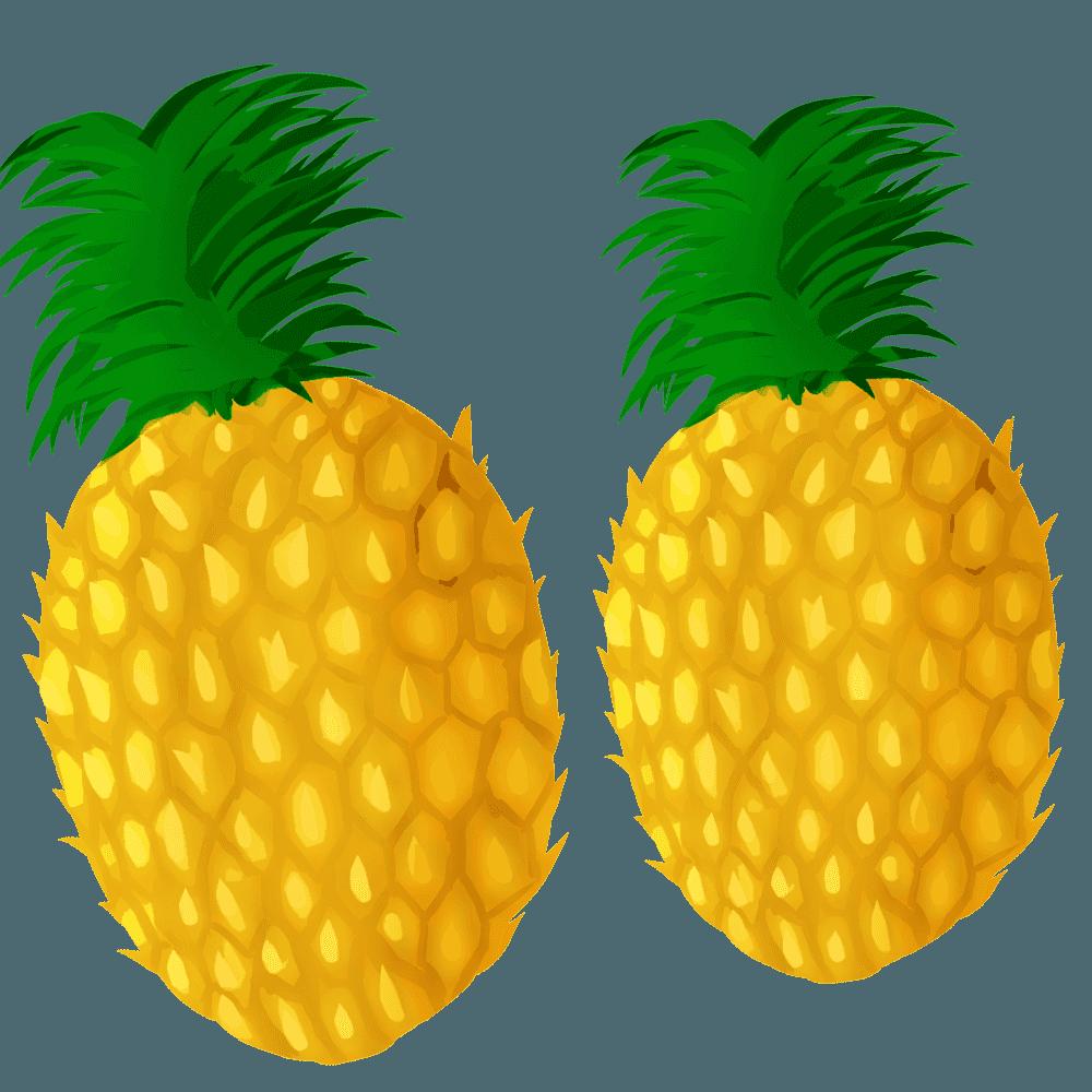 リアルなパイナップル2つのイラスト