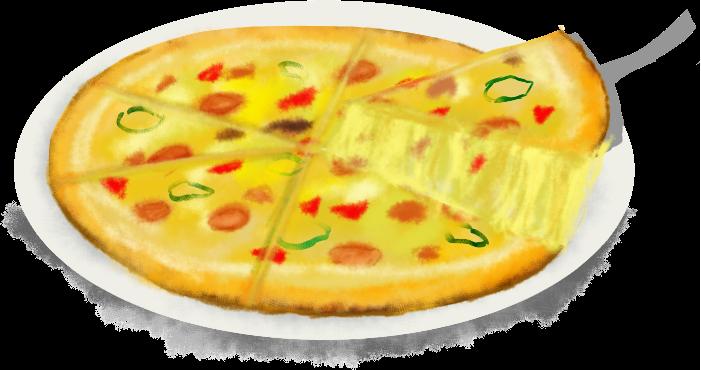 美味しそうな熱々な焼きたてピザのイラスト