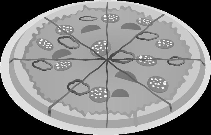 白黒のピザのイラスト