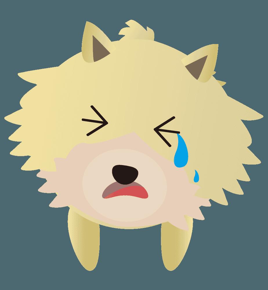 ショックで泣いているポメのイラスト