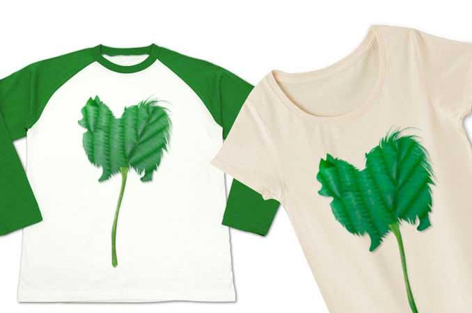 葉っぱのシルエットのポメラニアンTシャツ