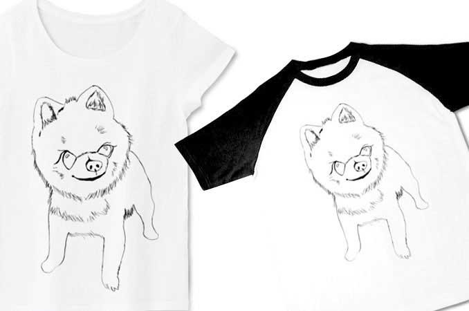 手描きのポメラニアンTシャツ