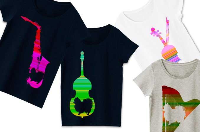 音楽とポメラニアンをテーマにしたデザインTシャツ