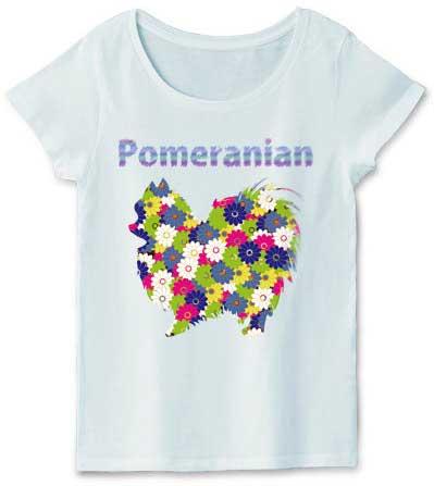 花柄ポメラニアンTシャツ