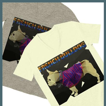 平面だけど立体に見えるお洒落なポリゴンフレンチブルドッグTシャツ