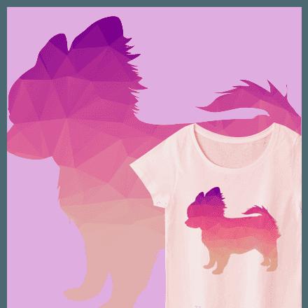 シンプルなかわいいポリゴンのチワワTシャツ★他チワワグッズ