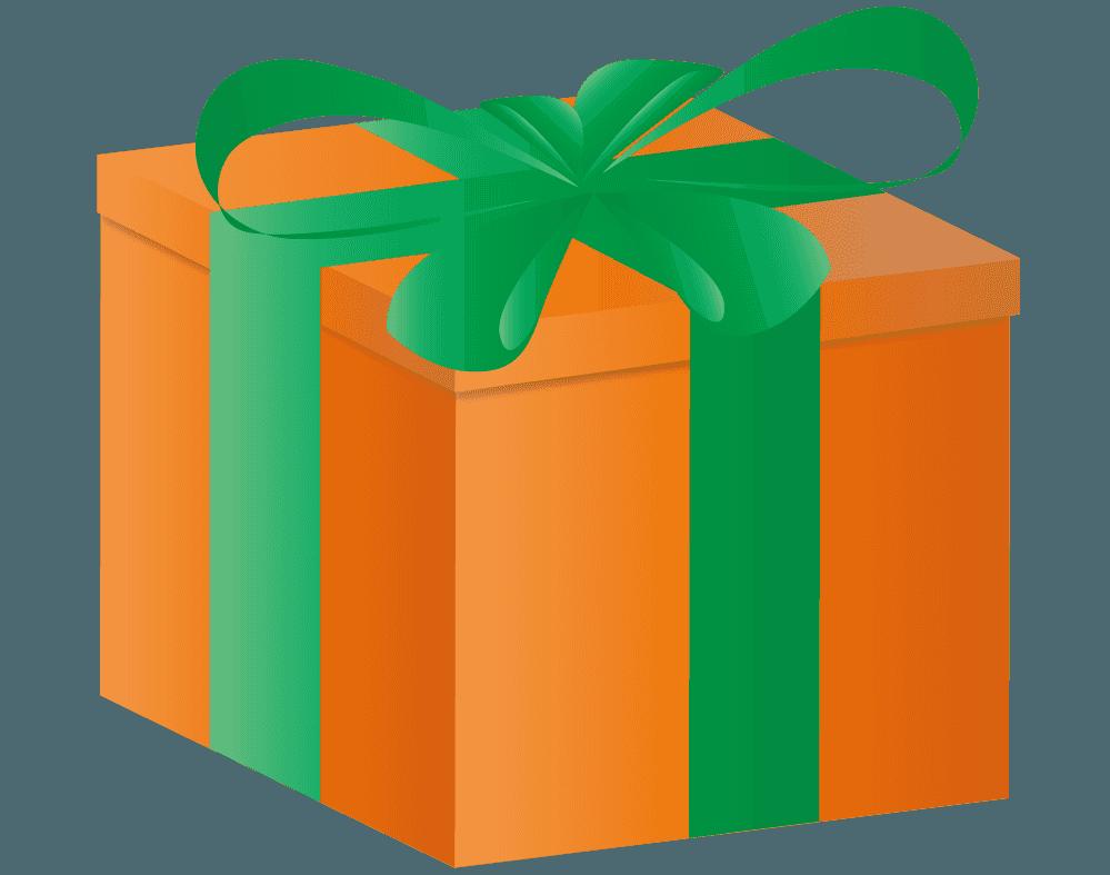 オレンジ色のプレゼントイラスト
