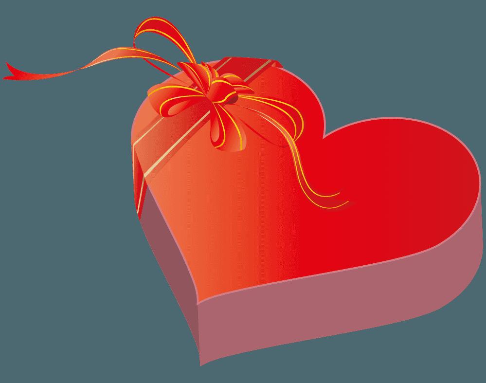 バレンタインのハートのプレゼントイラスト