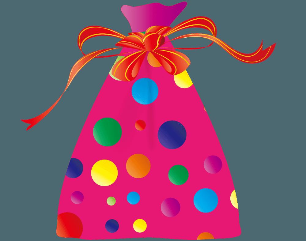 袋に入った女の子用のプレゼントイラスト
