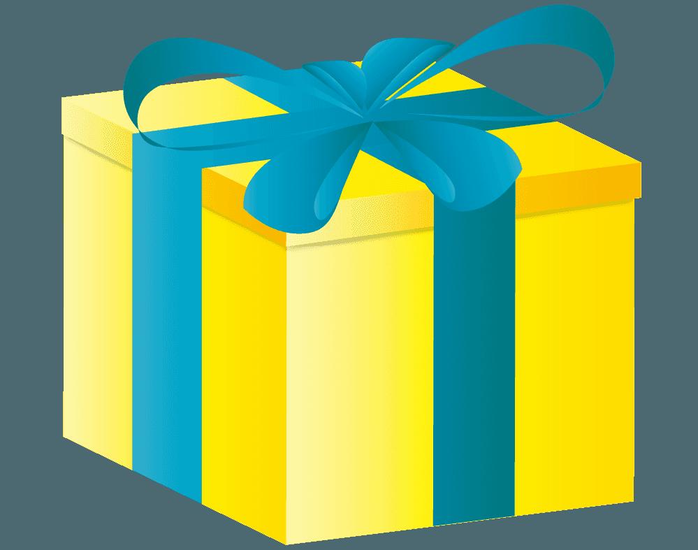 黄色いプレゼントイラスト