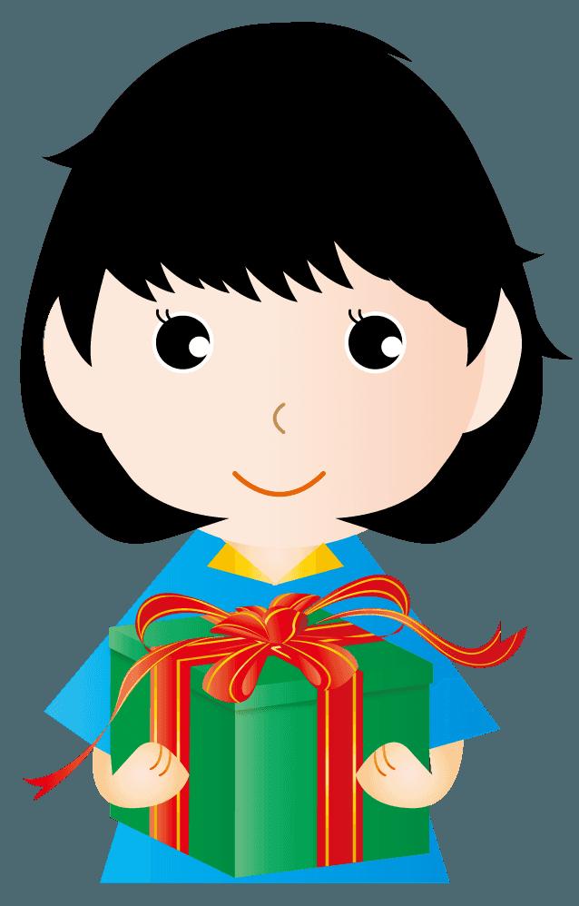 女の子供とプレゼントイラスト