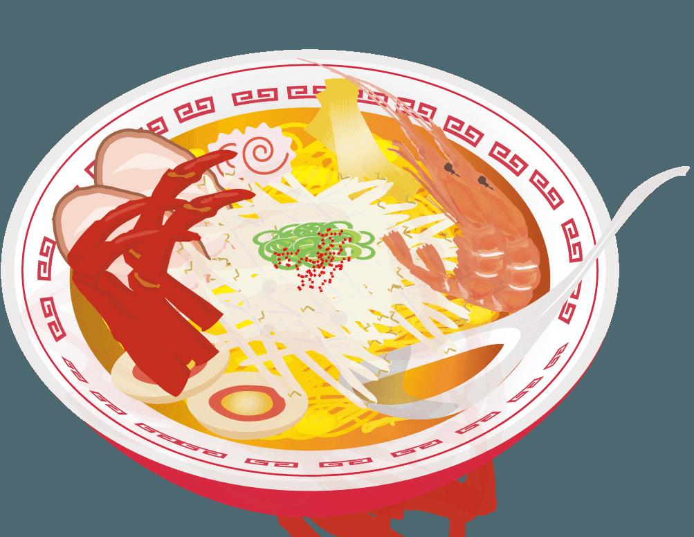 海老とカニの海鮮味噌ラーメンのイラスト