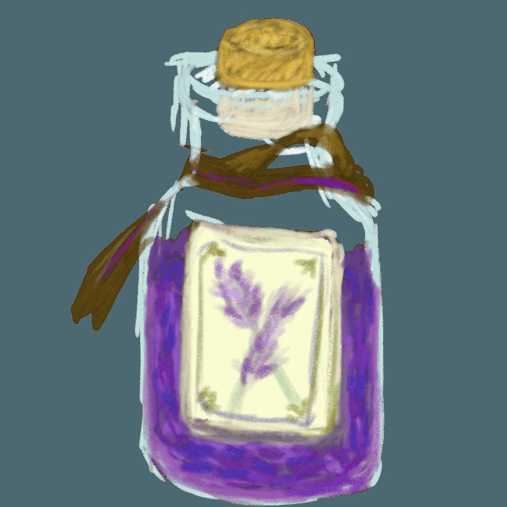 瓶詰めのラベンダーイラスト