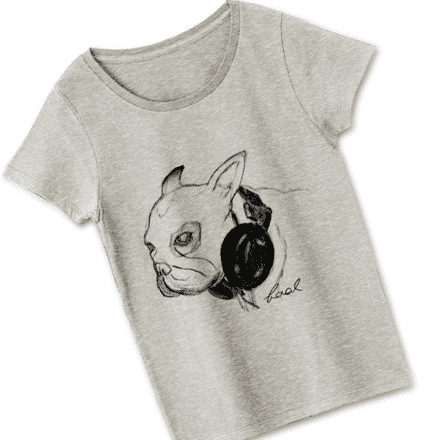 レディース用アートフレンチブルドッグTシャツ