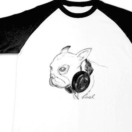 ラグランフレンチブルドッグアート手描きTシャツ
