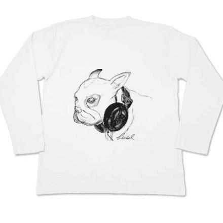 アートなイラストとフレンチブルドッグのロングTシャツ