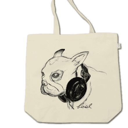 ヘッドホンとフレブルのアートな手描きトートバッグ