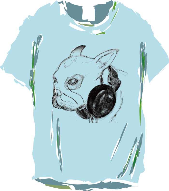 クールなヘッドホンフレンチのデザインTシャツ