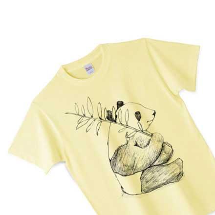 ピュアイエロー手描きパンダTシャツ