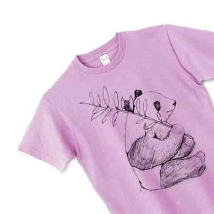 ピュアパープルのパンダ手描きTシャツ