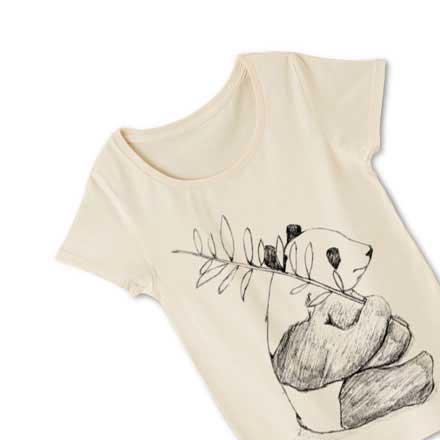 ナチュラルレディースパンダイラストtシャツ