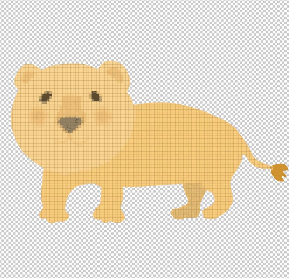 パッチワークをかけたライオンイラスト