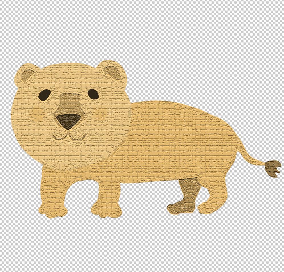 photoshopクラッキングフィルターをライオンイラストに適用