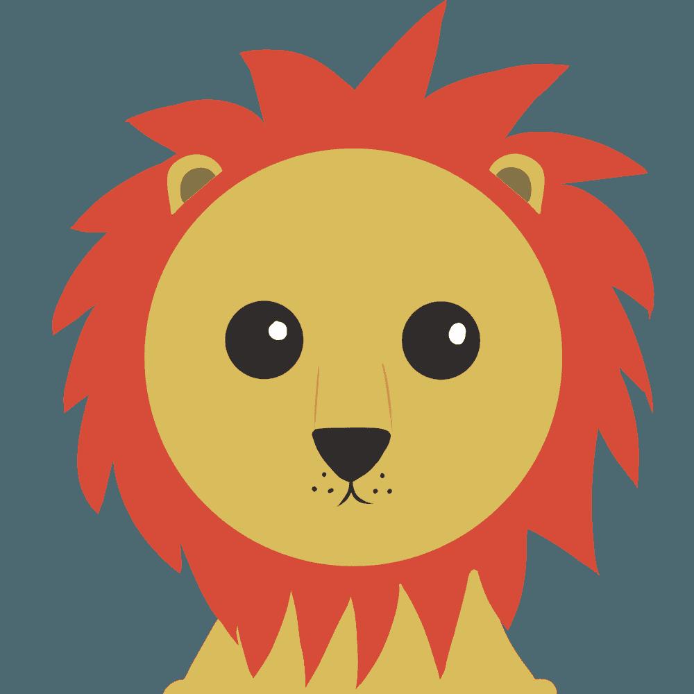 シンンプルなライオンイラストアップ