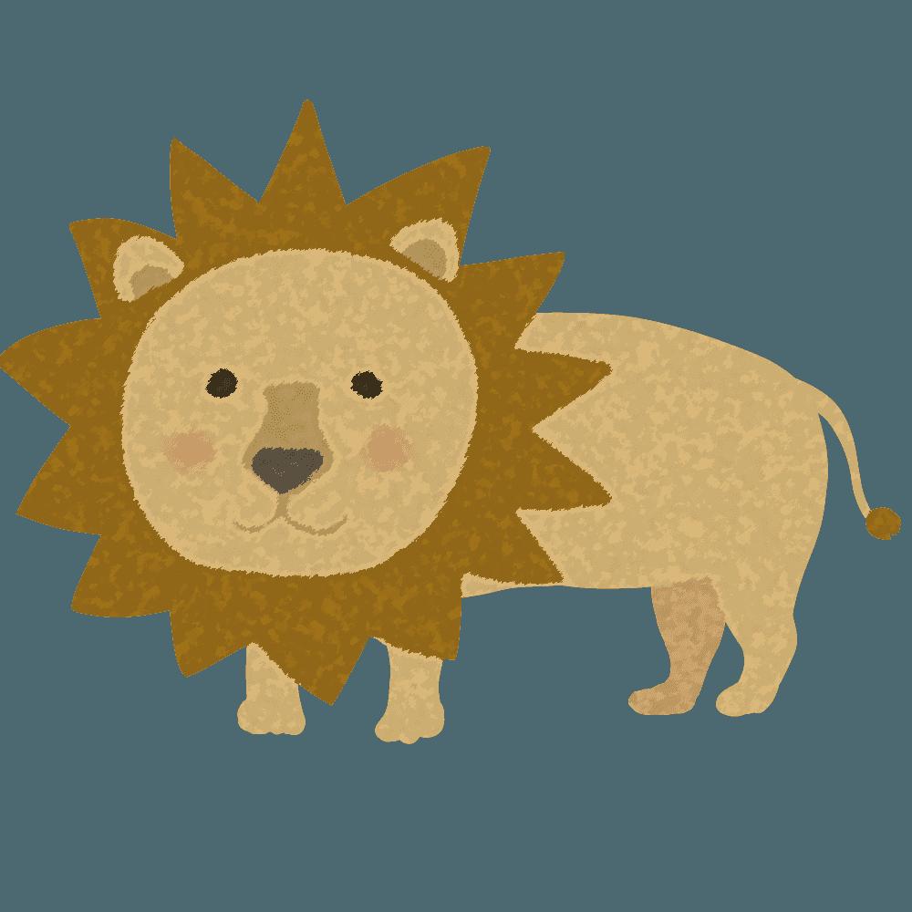 ラフでかわいいライオンやわらかい感じのライオンイラスト