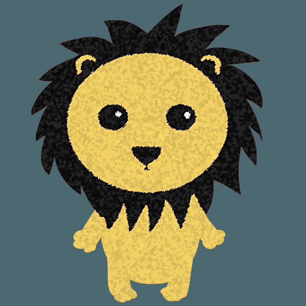 たてがみが黒いライオンイラスト