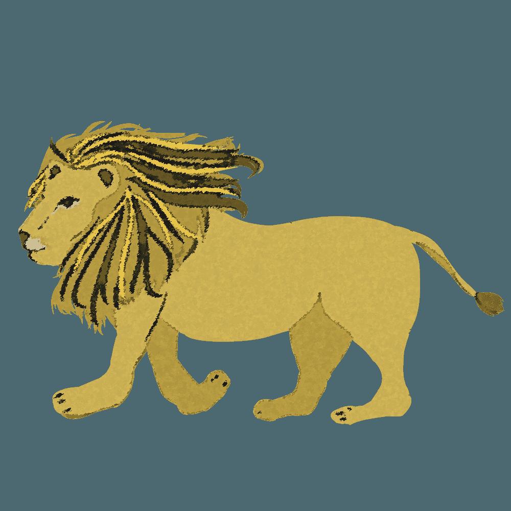 クレヨン画のシンプルなライオンイラスト全身