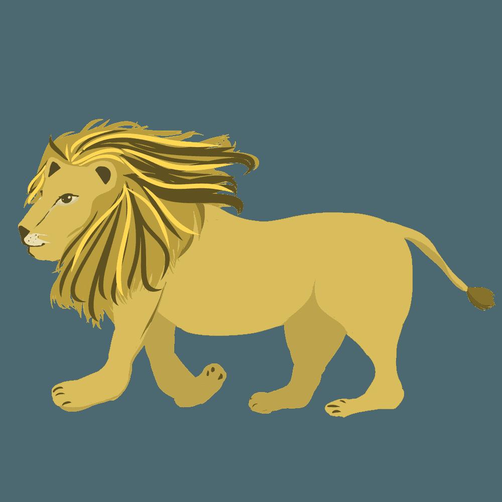 シンプルなライオンの全身イラスト
