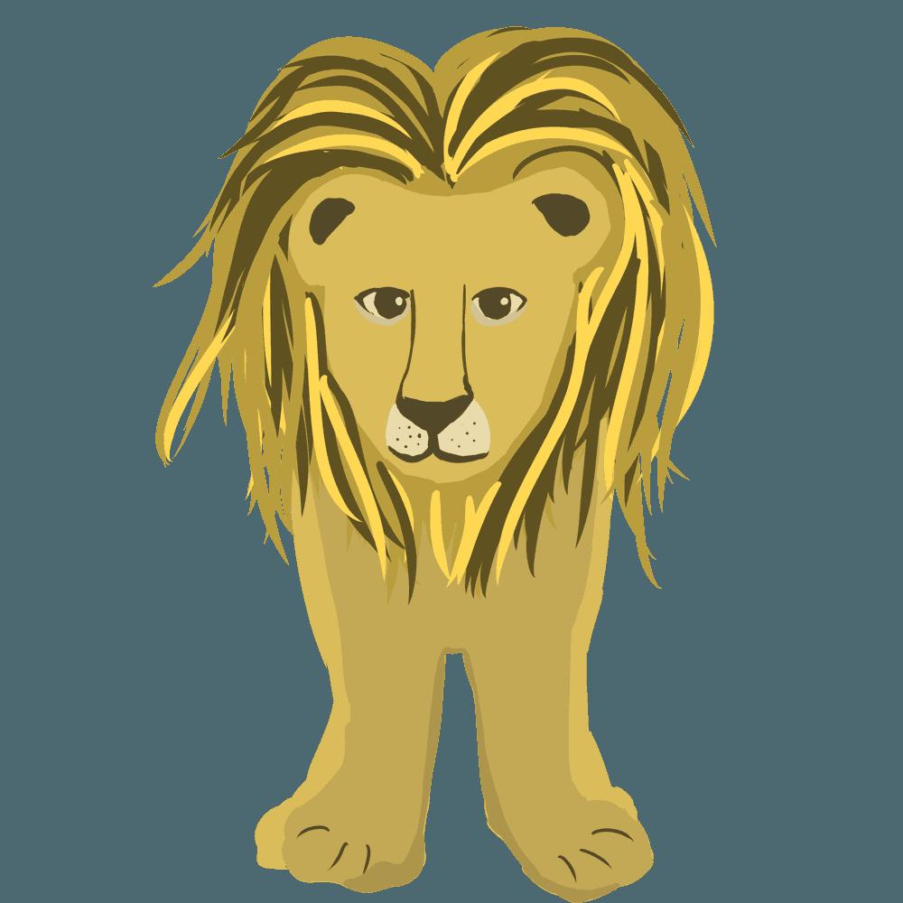 正面から見たライオンイラスト