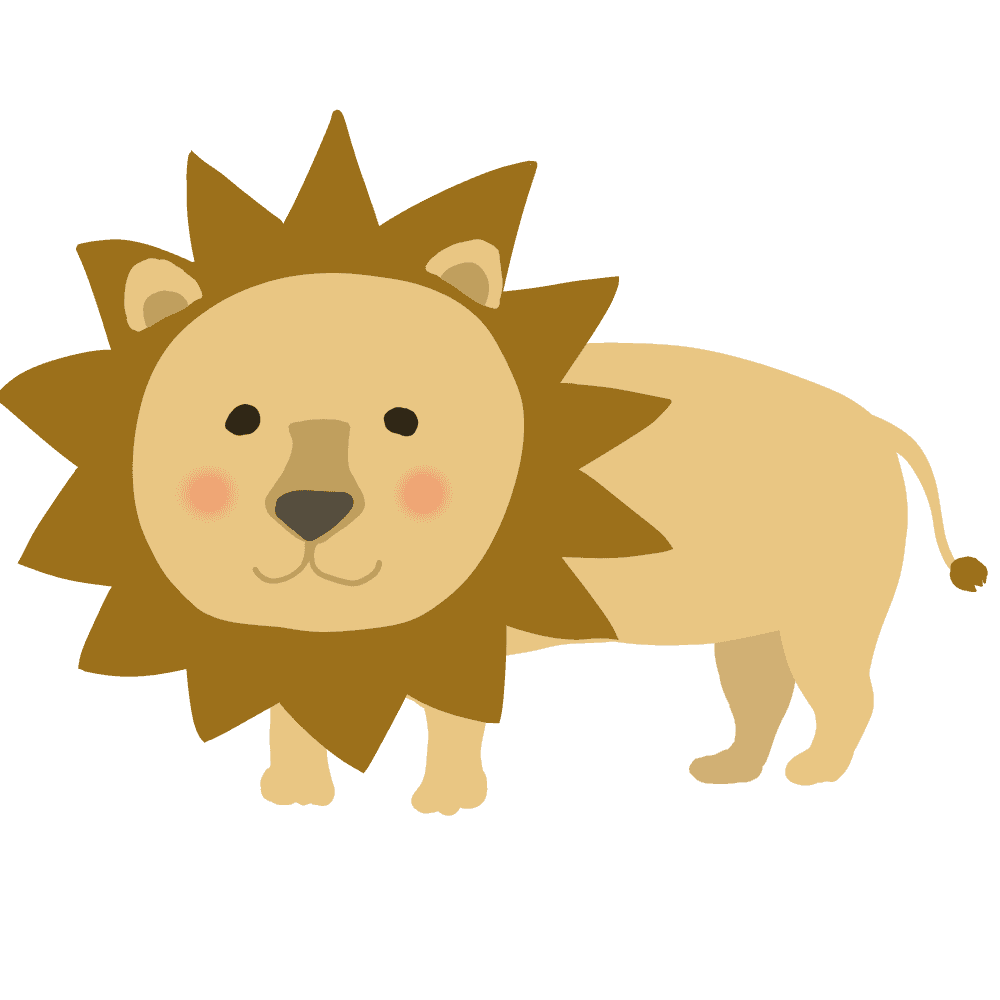 ラフでかわいいライオンイラスト