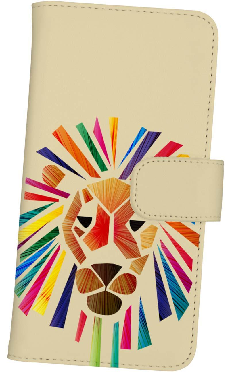ビビッドなライオンの手帳型スマートホンケース
