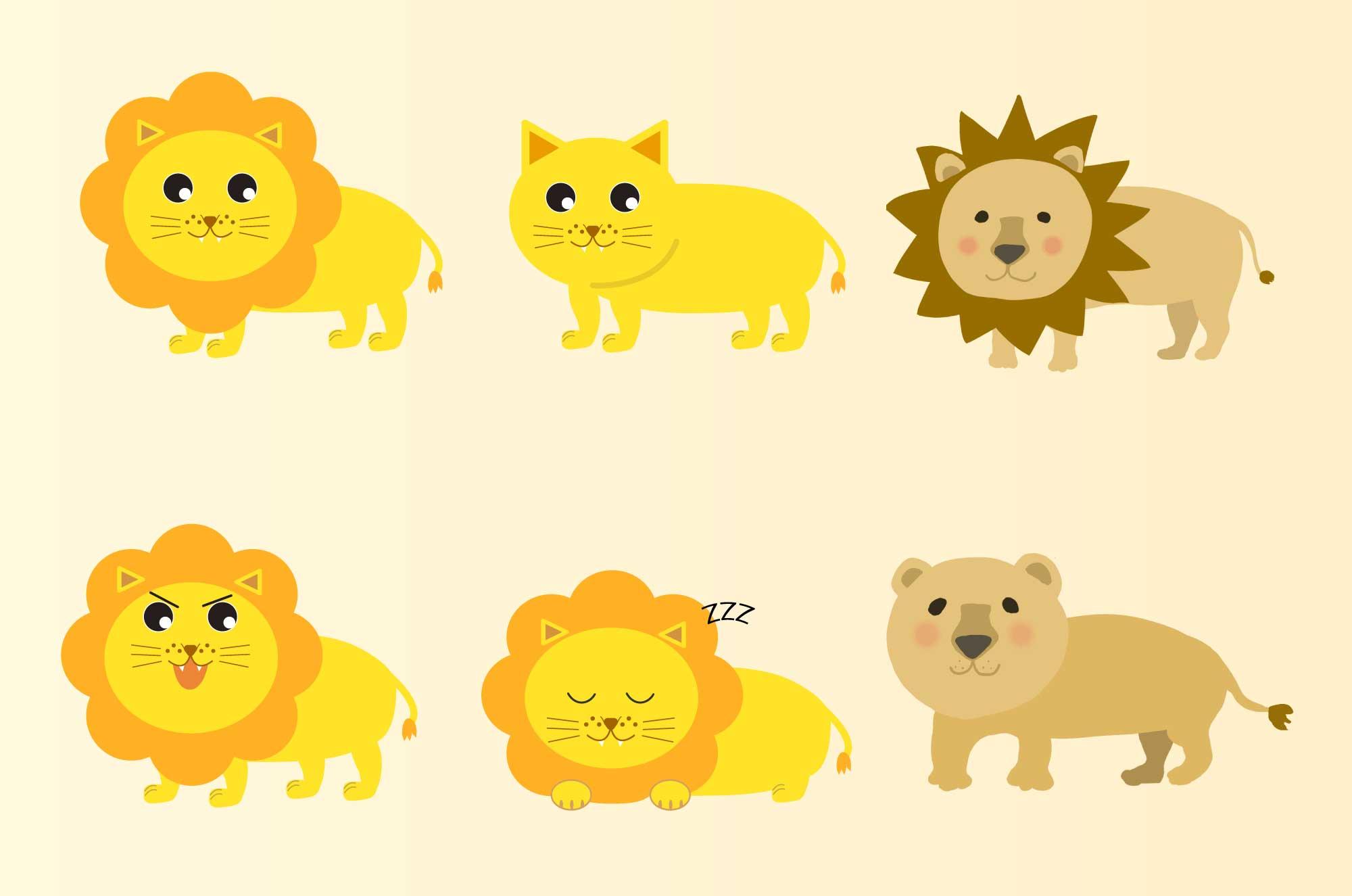 ライオンのフリーイラスト - かわいい動物の無料素材