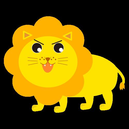 怒るかわいいライオンのイラスト
