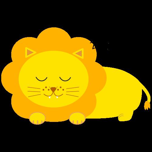 寝るかわいいライオンのイラスト