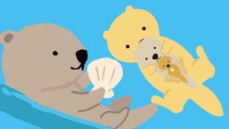 ラッコのイラスト - 海にプカプカ浮く可愛い無料動物素材