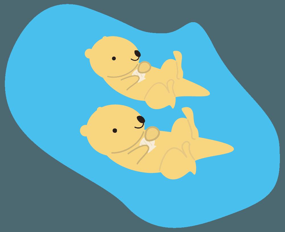 2匹の海に浮かぶラッコイラスト