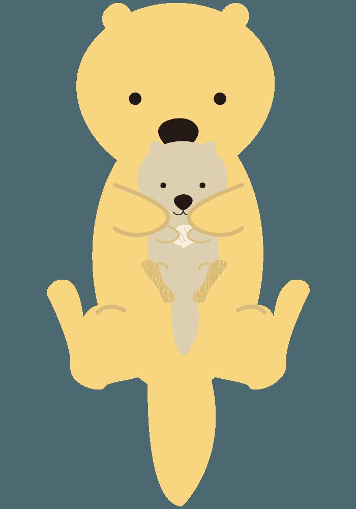 可愛いラッコの親子イラスト