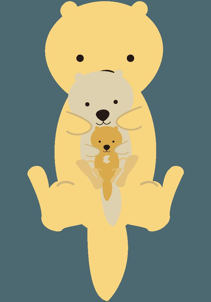 赤ちゃんを抱っこするラッコイラスト