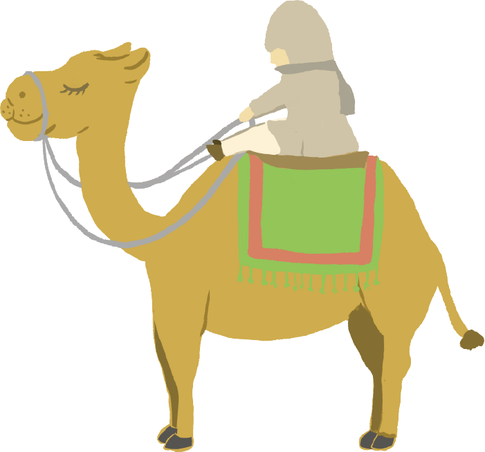 ラクダと砂漠の旅人のイラスト